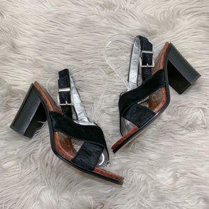 Sam Edelman Ivy Fur Leather Block Heel Sandals 11